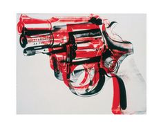 "Gun, c.1981-82 (black and red on white) - by Andy Warhol from his ""Guns"" screenprint series"