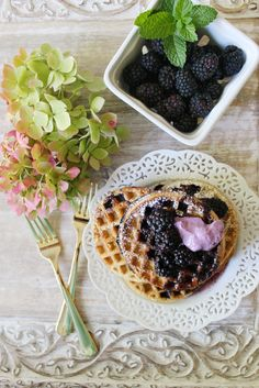 Whole Grain Waffles with Bilberry Infused Maple Syrup & Lingonberry Kefir – SIMPLY BEAUTIFUL EATING