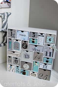 Silhouette Cameo advent calendar in blue and gray.