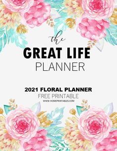 Monthly Planner Printable, Free Planner, Blog Planner, Happy Planner, Calendar Printable, Floral Printables, Free Printables, Family Planner, Day Planners