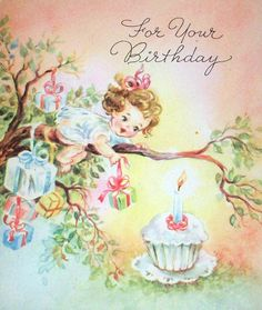 For your birthday (so cute!). #cupcakes #vintage #birthday #cards