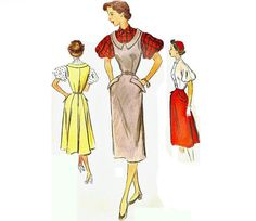 1950s Jumper Dress Pattern with Flared Skirt by CherryCorners