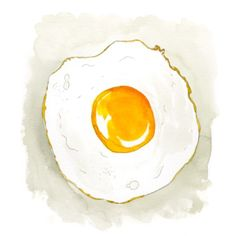 Breakfast is served with our fried egg illustration! This watercolor print will look eggcellent in your kitchen! Art And Illustration, Ink Illustrations, Watercolor Illustration, Watercolor Food, Watercolor Print, Watercolor Paintings, Watercolor Classes, Watercolours, Food Design