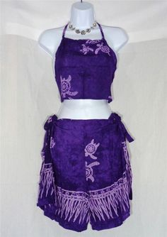 VIN & SUE FASHIONS TAHITI TIE WRAP SARONG BEACH COVER UP PURPLE TURTLE SEA LIFE #Handmade #CoverUp