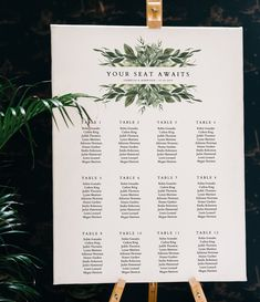 Lana - Greenery Seating Chart Template, Greenery Wedding Seating Chart, Your Seat Awaits Sign, Seating Chart Board, Seating Chart Poster Modern Greenery Wedding Seating Chart Wedding Welcome Signs, Wedding Signs, Wedding Bride, Wedding Favors, Wedding Souvenir, Wedding Tables, Diy Wedding, Wedding Invitations, Wedding Ideas