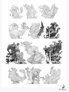 Trabalhos de Nicolas Weis para The Croods Environment Sketch, Environment Design, Vegetal Concept, Illustrations, Illustration Art, The Pirates, Android Jones, Art Environnemental, Fantasy Art