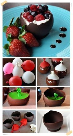 How to make chocolate bowls home, great for desserts! Just Desserts, Delicious Desserts, Dessert Recipes, Yummy Food, French Desserts, Dessert Cups, Chocolate Bowls, Chocolate Diy, Chocolate Baskets