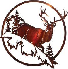 """25.5"""" Circular Elk Wall Art www.rusticeditions.com"""