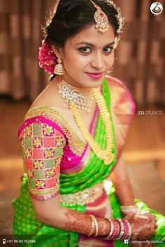 hairstyle on wedding saree