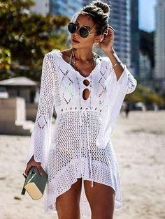 New Sexy Cover Up Bikini Women Swimsuit Cover-up Beach Bathing Suit Beach Wear Knitting Swimwear Mesh Beach Dress Tunic Robe Swimwear Cover Ups, Bikini Cover Up, Swimsuit Cover Ups, Bikini Swimwear, Beachwear For Women, Women Swimsuits, Beachwear Clothing, Crochet Beach Dress, Crochet Tunic