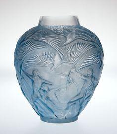 """R. LALIQUE """"Archers"""" A Glass Vase with pale blue patina, Marcilhac no. 893, designed 1921"""