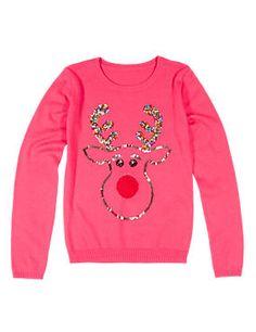 Sequin Embellished Reindeer Christmas Jumper with Wool (5-14 Years)