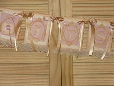 Its A Girl Banner Vintage Lace Banner Vintage by RubysPlaceInTime, $21.50