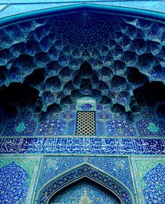 The Blue Arch of a Mosque (Iman Mosque Isfaham) in Isfahan, Iran.
