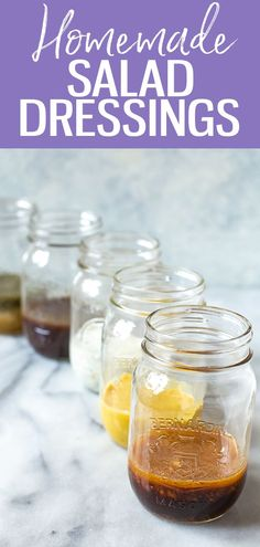 These 5 Healthy Homemade Salad Dressings are so easy and delicious, and will last in your fridge up to 2 months! Try Italian, ranch, balsamic, honey dijon and ginger sesame! #salad #dressing Low Acid Recipes, Low Sodium Recipes, Ww Recipes, Whole Food Recipes, Sweets Recipes, Clean Recipes, Delicious Recipes, Creamy Salad Dressing, Healthy Recipes