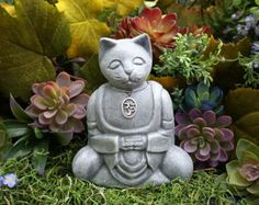 Buddha Cat Statue is READY TO SHIP Now Meditating by PhenomeGNOME