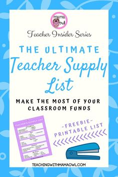 If youre like me you LOVE to buy teaching supplies for your classroom. But as a new teacher how do you know what supplies youll actually need? Here's my ultimate teacher supply list to help get you started. Teacher Classroom Supplies, School Supplies For Teachers, Teaching Supplies, First Year Teachers, Teacher Organization, New Teachers, Teacher Hacks, Teaching Tips, Classroom Decor