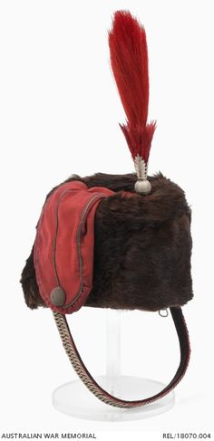 Fur busby (c. 1876) of the Prince of Wales Victorian Volunteer Light Horse ( Hussars ).  In 1862, the units of the Mounted Volunteer Corps in Victoria were formed into a single light horse regiment known as the Victorian Volunteer Light Horse and from 1863 as the Prince of Wales Victorian Volunteer Light Horse ( Hussars ). In 1870 a uniform was adopted that was based on the British 19th Hussars.