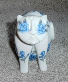 Flat Face Blue Floral Porcelain Cat by P Rada , Royal Dux , Czechoslovakia   eBay