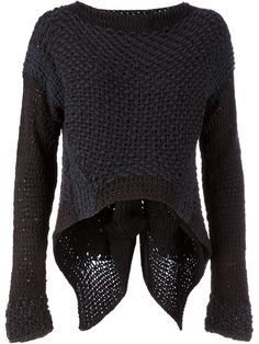 Shop Le Moine Tricote asymmetric knit sweater in L'Eclaireur from the world's… Knitwear Fashion, Knit Fashion, Dark Fashion, Autumn Fashion, Minimal Fashion, Looks Style, Style Me, Handgestrickte Pullover, Lana