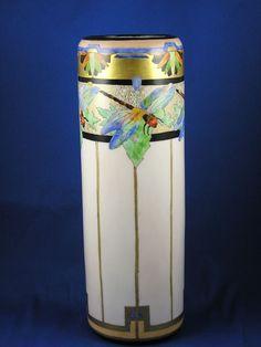 "PH Leonard Austria Arts & Crafts Dragonfly Motif Vase (Signed ""C.E. Sammel""/c.1990-1908)"