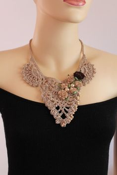 Fall Fashion Beige Crochet Necklace Crochet Jewelry by levintovich