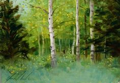 Spring Aspens, painting by artist Justin Clements