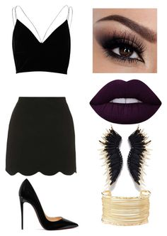 """Untitled #327"" by valerialoman on Polyvore featuring River Island, Topshop, Christian Louboutin, Lime Crime and Charlotte Russe"