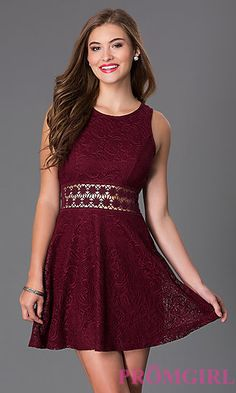 Short Burgundy Red Lace Homecoming Dress with Cut-Out Waist at PromGirl.com
