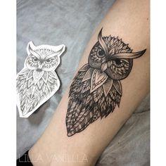 Совушка #tattoo #tattooer #tattooist #tattooartist #tattooart #tattoodesign #tattooing #tattooidea #tattooink #tattoospb #graphic #dots…