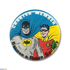 """Batman - Charter Member  """"Charter Member - Batman & Robin Society"""" (3-1/2-inch) button by Button World Mfg. and National Periodical Publishing c. 1968"""