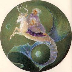 merstag cerf marin by Susan Seddon-Boulet Art Et Illustration, Illustrations, Native American Poems, Art Visionnaire, Spiritual Symbols, Visionary Art, Animals Images, Sacred Art, Learn To Paint