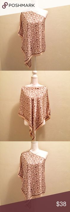 Anthropologie shawl 100% silk EUC OS 100% silk, shawl, has a wide neck handkerchief Hem, arm holes, beautiful neutral colors Anthropologie Other