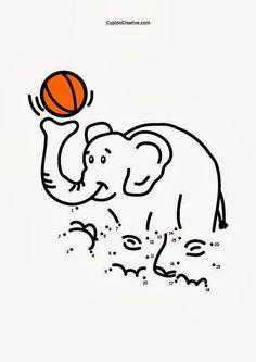 Lembar aktivitas dot-to-dot (menghubungkan titik) untuk balita/TK/SD. Belajar angka sambil menggambar dan mewarnai gajah sirkus