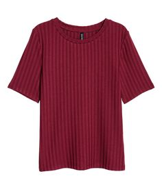 Check this out! Short-sleeved jersey top in a ribbed viscose blend. - Visit hm.com to see more.