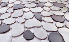 Eden Mosaic Tile Black and Silver River Rock Pattern Mosaic Stainless Steel Tile - EMT_115-MIX-CB - See also its sister tile EMT_110-SIL-SM