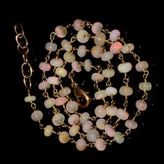 """30CRTS 4.5to5MM 19.5"""" ETHIOPIAN OPAL RONDELLE BEADS CHAIN NECKLACE OBI2653 #OPALBEADSINDIA"""