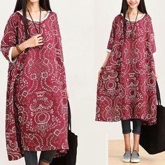 Loose Fitting Long Maxi Dress - Summer Dress  - Short Sleeve Cotton Sundress for Women on Etsy, $83.00
