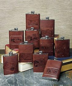 H2O (Hip to Own) Stainless Flask - Anti-Pain Patch by Bridal & All Occasion Gifts. $29.98. Hip flasks wrapped in luscious brown leather are an ideal gift for the man in your life. Choose from an assortment of designer personality patches for a gift that will truly reflect his style. Each flask holds 6 fluid oz.