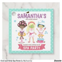 Cool and Girly Spa Party Favor Tags  #favor #tags #favortags #ad #thankyoutags #thankyou #girly #spa #spaparty