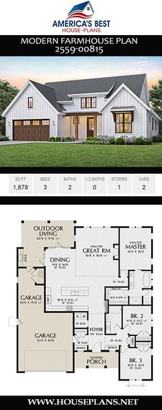 Plan is a Modern Farmhouse plan giving you 1878 sq. 3 bedrooms 2 bathrooms a vaulted great room open floor plan and a 2 c Best House Plans, Dream House Plans, Modern House Plans, Small House Plans, Dream Houses, Barn Style House Plans, Layouts Casa, House Layouts, Small House Layout