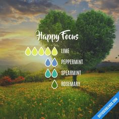 Happy Focus - Essential Oil Diffuser Blend Keep happy everyday~ laugh Essential Oil Scents, Essential Oil Diffuser Blends, Essential Oil Uses, Doterra Essential Oils, Young Living Essential Oils, Essential Oil Combinations, Aromatherapy Oils, Stress, Diffuser Recipes