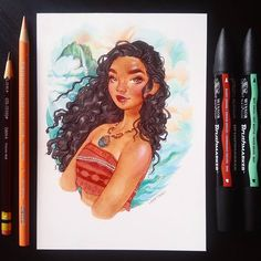Moana! The last princess! I'm going to put up the remaining drawings up in my shop as well as prints of them by the end of the day. I'll post once everything is up :)  *  *  *  #art #drawing #disney #sketch #sketchy #disneyprincess #moana #fanart #hawaiian #promarkers #brushmarkers #winsorandnewton #prismacolorpremier #prismacolor #colerase #bristolboard