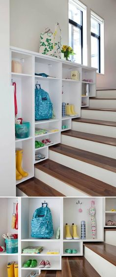 Mudroom remodel done by California Closets Mudroom, House, Small Spaces, Home Projects, Home, Diy Staircase, Entryway Storage, Home Diy, Built In Storage