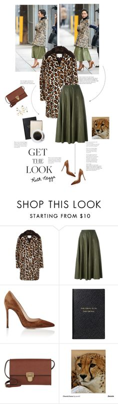 """get the look • ruth negga"" by theotherjoanne ❤ liked on Polyvore featuring River Island, MM6 Maison Margiela, Gianvito Rossi, Smythson, Joop!, Leather, celebrity, suede and cheetahprint"