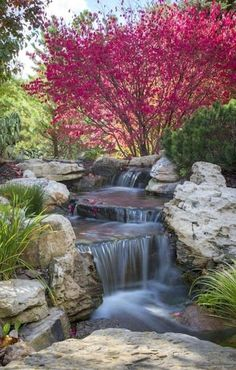 Fall Landscape Features with a Splash of Water - Town & Country Living Autumn adds riotous color creating a stunning fall landscape. See these backyard beauties, each with its own refreshing water feature! Backyard Water Feature, Ponds Backyard, Backyard Ideas, Pond Ideas, Backyard Waterfalls, Garden Ideas, Garden Ponds, Pond Landscaping, Landscaping With Rocks