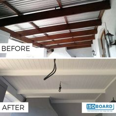Boland Isoboard Ceilings and Cornicing Installers did an absolutely stellar job transforming this porch by retrofitting this cold-looking canopy with IsoBoard - creating an inviting, thermally comfortable entertainment area. Porch Ceiling, Porch Roof, Pergola With Roof, Diy Pergola, Carport Kits, Roof Insulation, Office Space Design, Roof Architecture, Back Patio