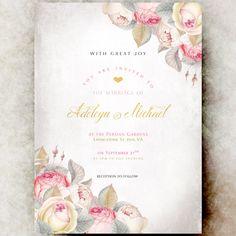 Wedding Invitations vintage - wedding invitation set, elegant wedding invitation, printable wedding invitation, gold blush wedding