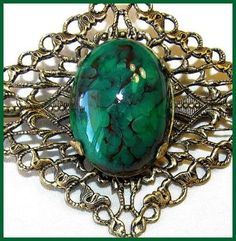 Art Deco Brooch Pin Green Marbled Stone by BrightgemsTreasures, $34.50
