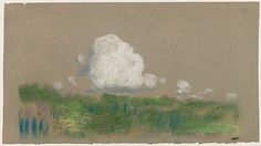 Landscape with Clouds Sketch Arthur B. Davies (1862–1928) Pastel and black chalk on green-gray wove paper